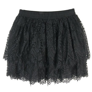 "MOON; LAYERED LACES MINI SKIRT ""WITH LASHES"" BLACK"
